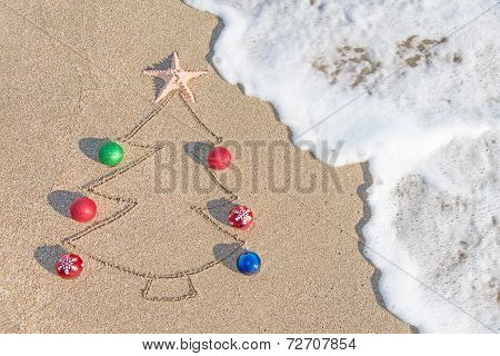 Christmas Tree Contour With Decorations, Star And Wave On The Be
