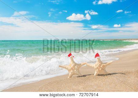 Sea-stars Couple In Santa Hats Walking At Sea Beach. New Years D