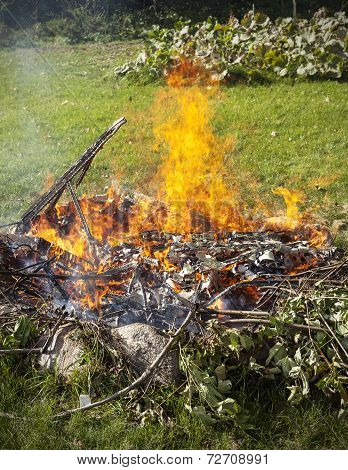 Garbage In Fire, Garden Illegal Burn Refuse.