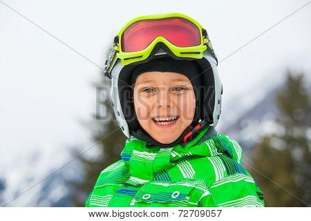 Happy skier boy