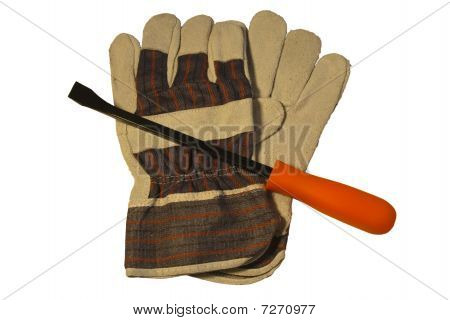 Work Gloves And Small Pry Bar