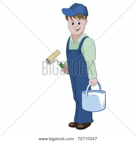 The painter or decorator standing with a roller and a bucket of a paint
