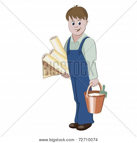 The decorator or handyman standing with rolls of wallpaper and a bucket of glue