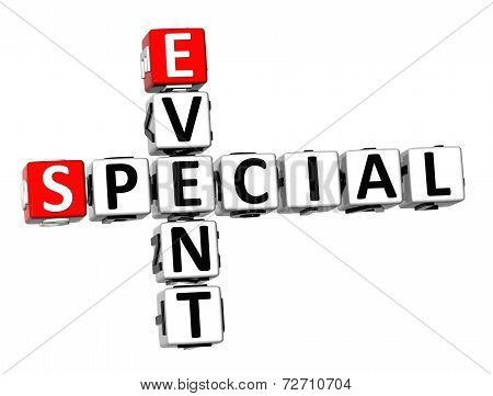 3D Crossword Special Event On White Background