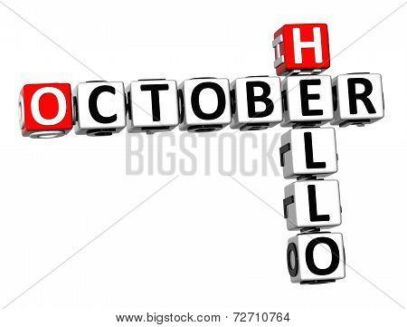 3D Crossword Hello October On White Background