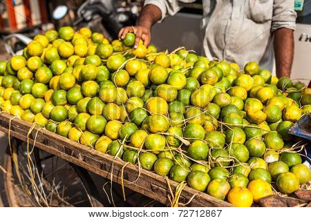Lemons In Local Market In India.