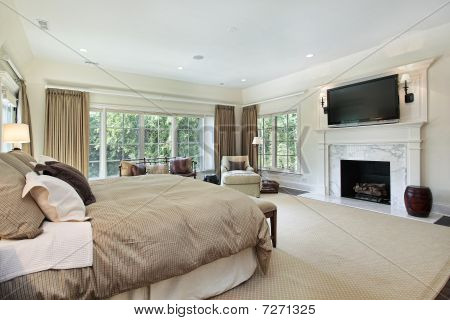 Master Bedroom With Marble Fireplace