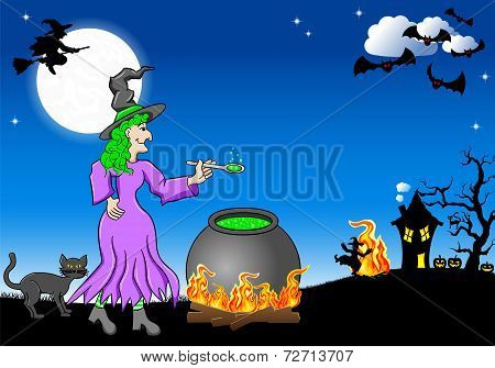 Witch Cooking A Magic Potion In The Cauldron