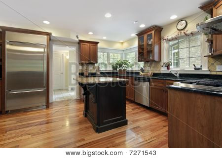 Kitchen With Black And Granite Island