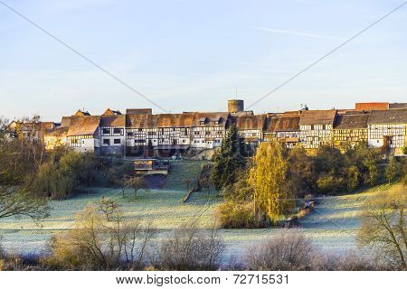 Old Medieval Town Wall Build Of Half Timbred Houses In Idstein Walsdorf In Morning Light