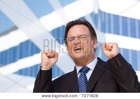 Happy Excited Businessman