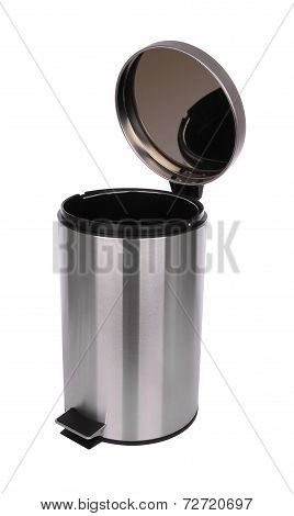 Top side of opened trash can scratch surface on white background.