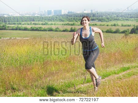 Fitness Plus Size Woman Running Outdoor