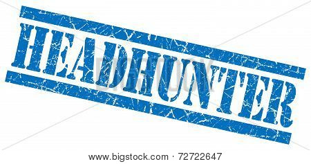 Headhunter Blue Grungy Stamp On White Background