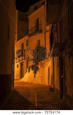 Street view of Ibiza old town. Dalt Vila. Spain.