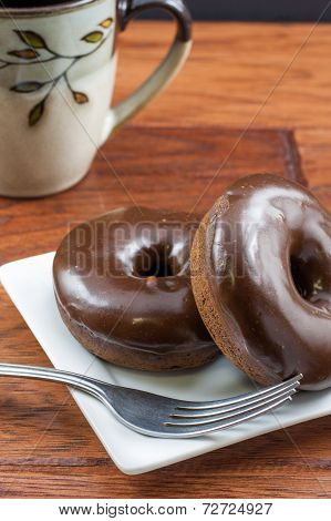Double Chocolate Doughnuts And Coffee