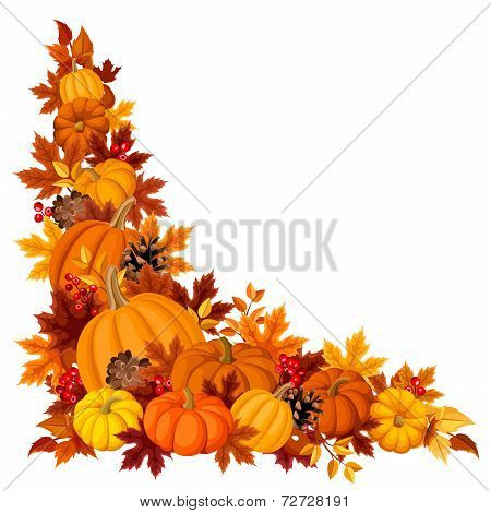 Corner background with pumpkins and autumn leaves. Vector illustration.