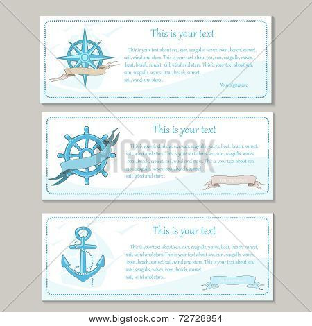 Set of travel banners. Sea nautical design.