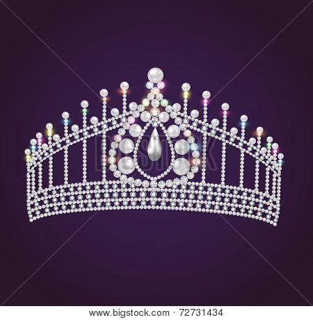 Diadem Feminine Wedding With Pearls And Precious Stones