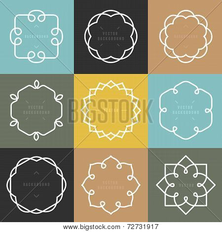 Vector Set Of Outline Emblems And Badges