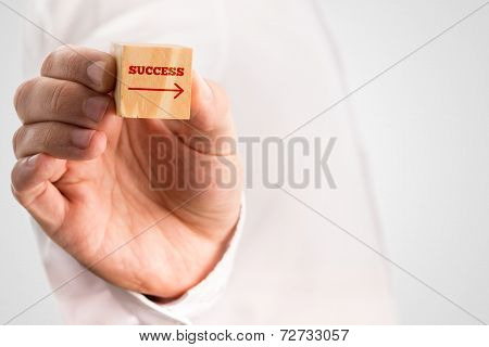 Man Holding A Block With The Word - Success