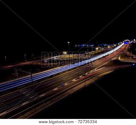 Motorway Junction At Night