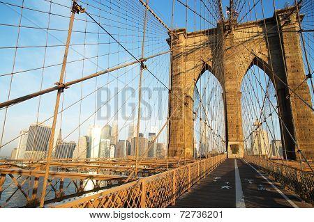 Brooklyn Bridge At Sunrise, New York City