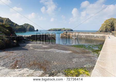 The Lizard peninsula Cornwall Mullion Cove harbour UK near Helston in summer