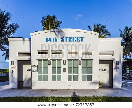 Historic Public Restroom In Art Deco Style At Ocean Drive