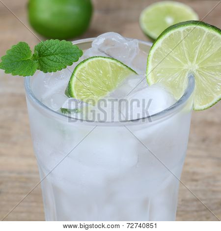 Sparkling Water Drink With Ice Cubes