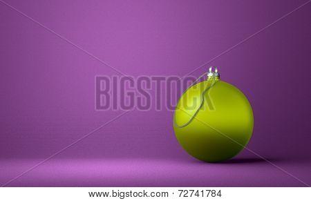 Yellowish-green Christmas Ball On Violet Background