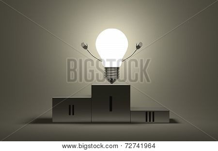 Glowing Triumphant Light Bulb Character On Podium