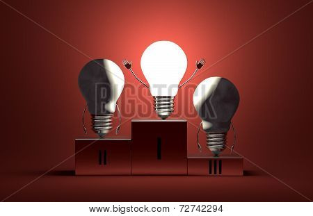 Glowing Tungsten Light Bulb Character And Dead Ones On Podium