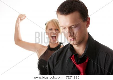 Man And Woman Conflict. Isolated On White.