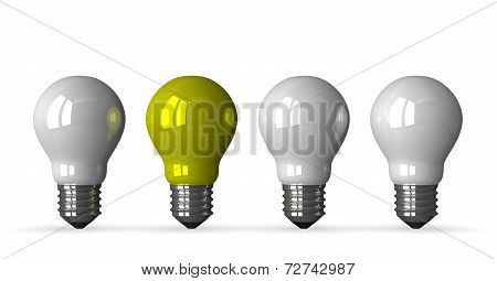 ?yellow Tungsten Light Bulb And Three White Ones, Front View