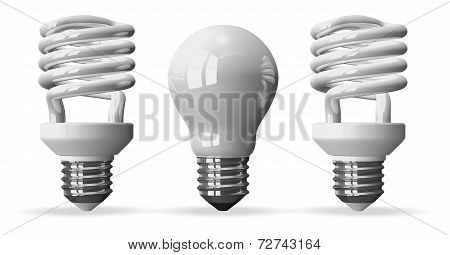 One Tungsten Light Bulb And Two Spiral Ones