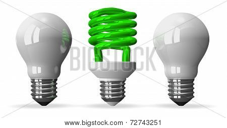 Green Spiral Light Bulb And Two White Tungsten Ones