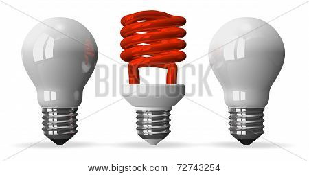 Red Spiral Light Bulb And Two White Tungsten Ones