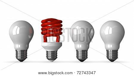 Red Spiral Light Bulb And Three White Tungsten Ones