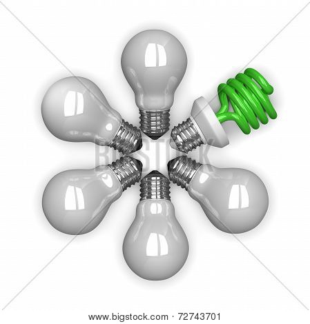 green Spiral Light Bulb Among White Tungsten Ones Lying Radially