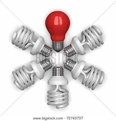 red Tungsten Light Bulb Among White Spiral Ones Lying Radially