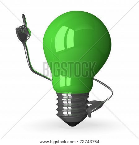 green Tungsten Light Bulb Character In Moment Of Insight