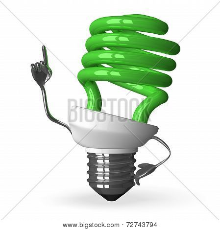 green Spiral Light Bulb Character In Moment Of Insight