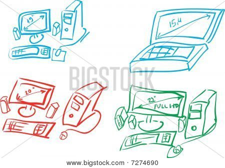 Vector sketch of computers