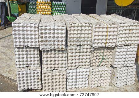 Big Stack Empty Egg Boxes In Mumbay Bombay Market