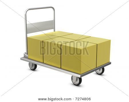 Hand trolley with boxes