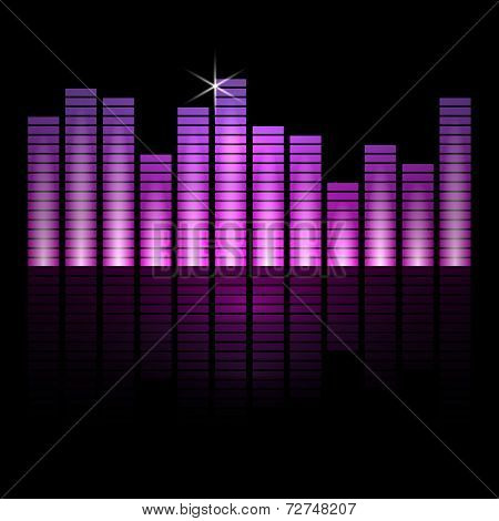 Vector illustration of music equalizer bars on black background