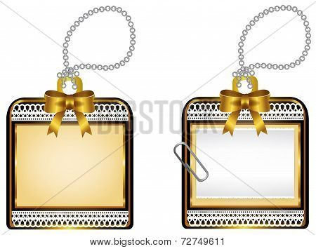 Vintage Glossy Golden Locket Icon Badge Design, Create By Vector