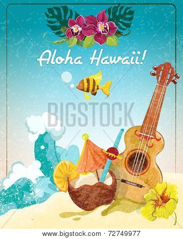 Hawaii guitar vacation poster