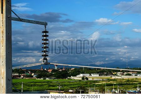 hight voltage outdoor architecture with blue sky